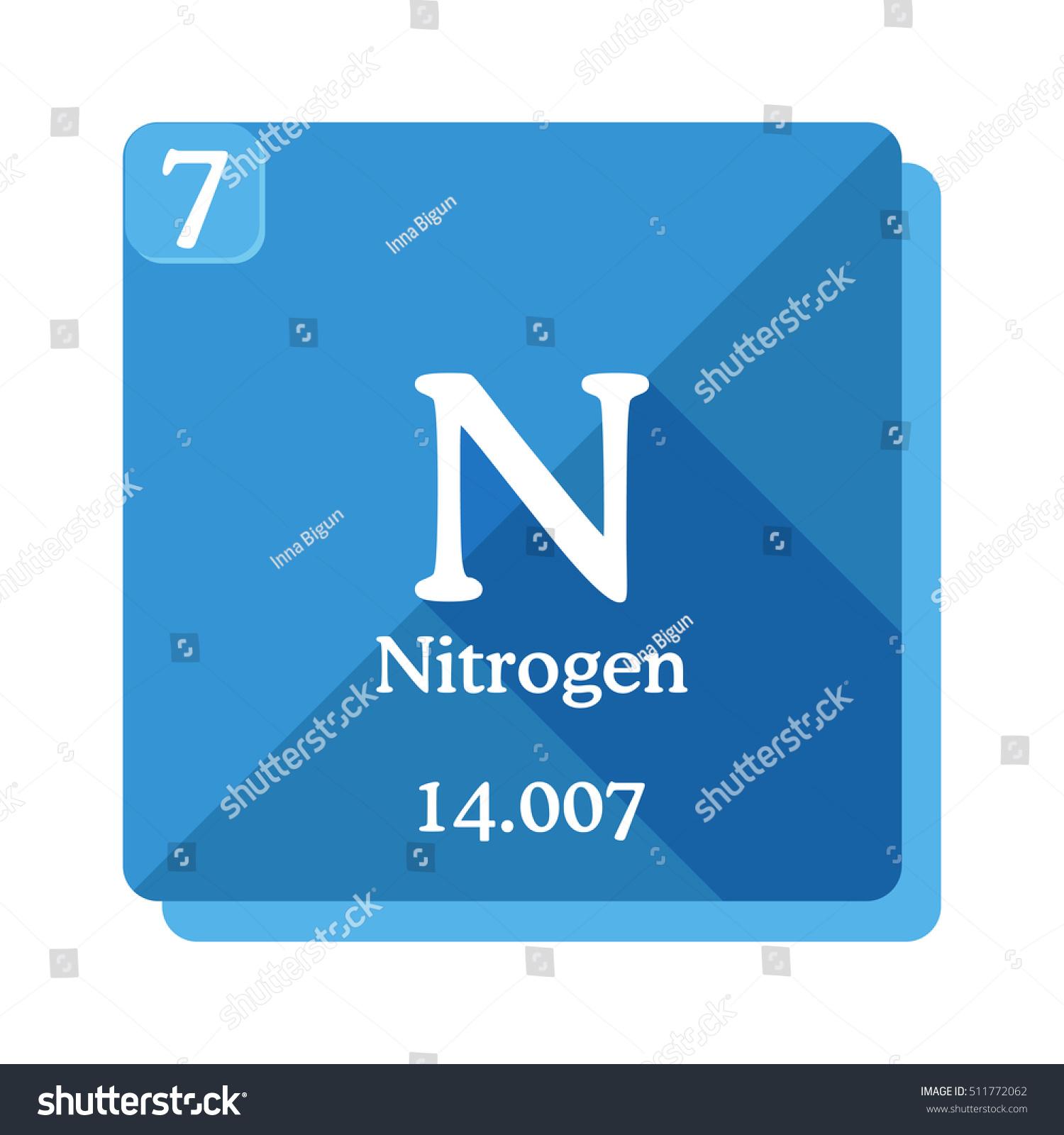 Nitrogen n element periodic table nitrogen stock vector 511772062 nitrogen n element of the periodic table nitrogen icon on blue background gamestrikefo Image collections