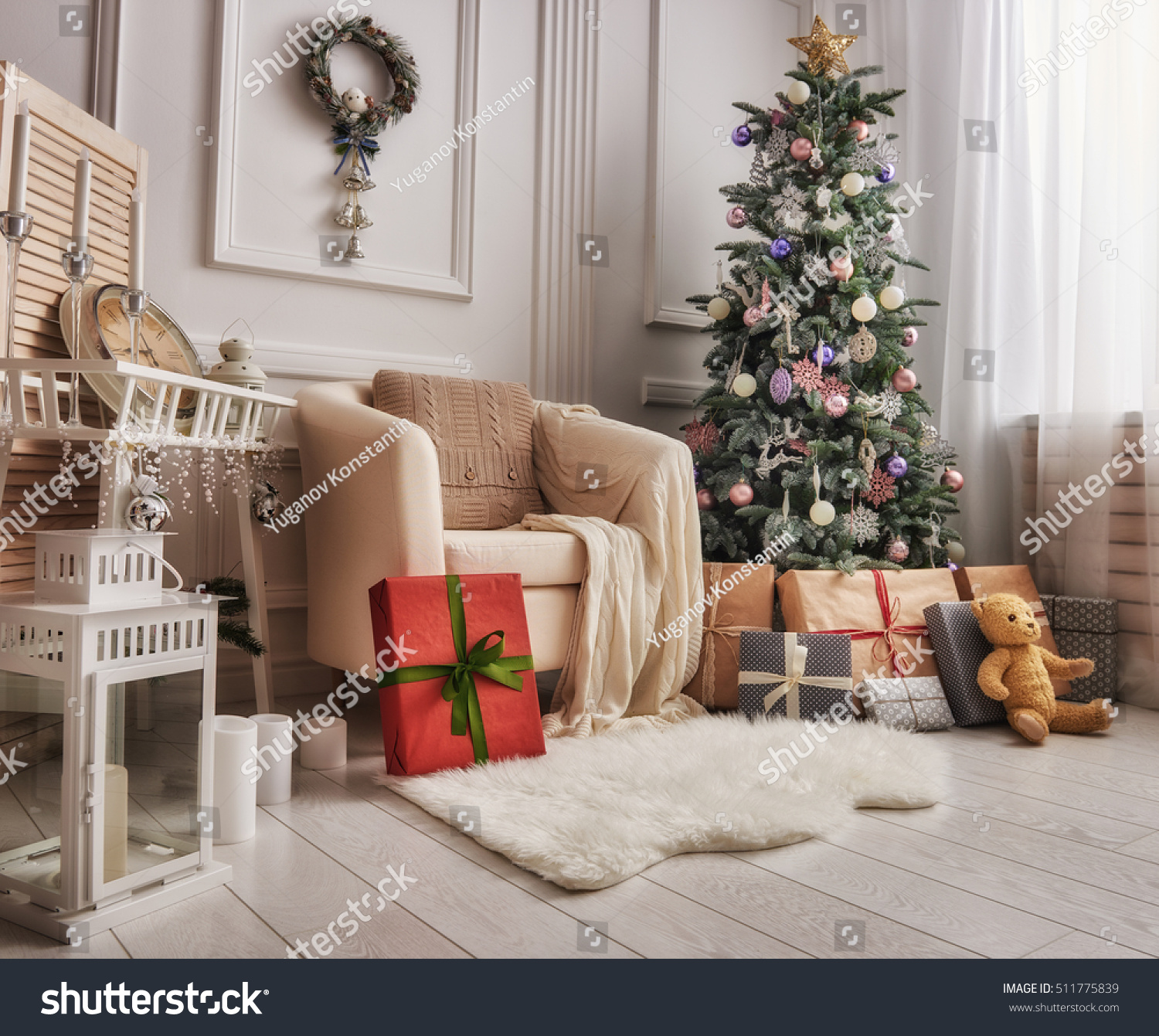 Merry christmas happy holidays beautiful living stock photo 511775839 shutterstock - Beautiful decorated rooms ...