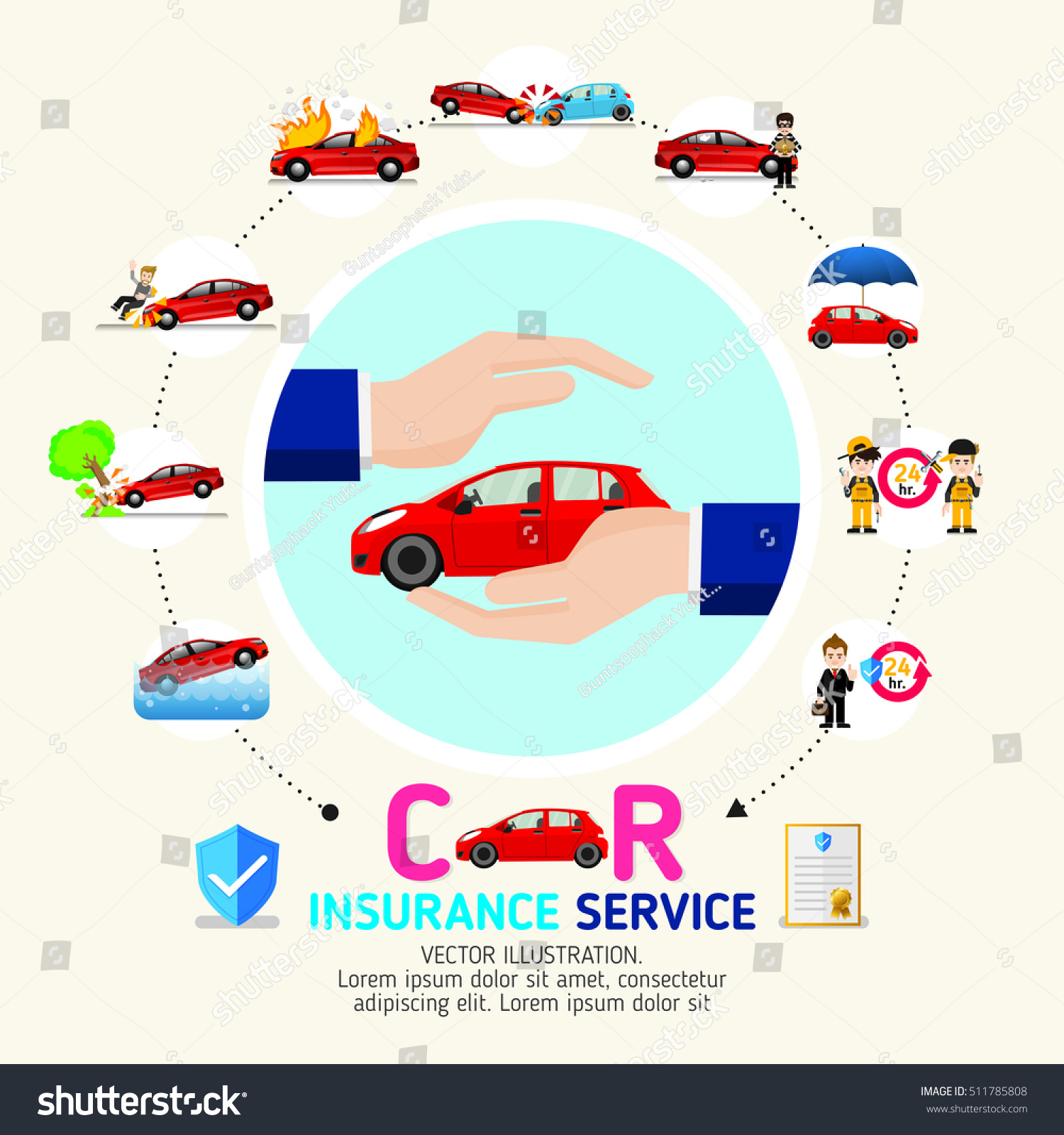 Vector de stock (libre de regalías) sobre Car Insurance ... on