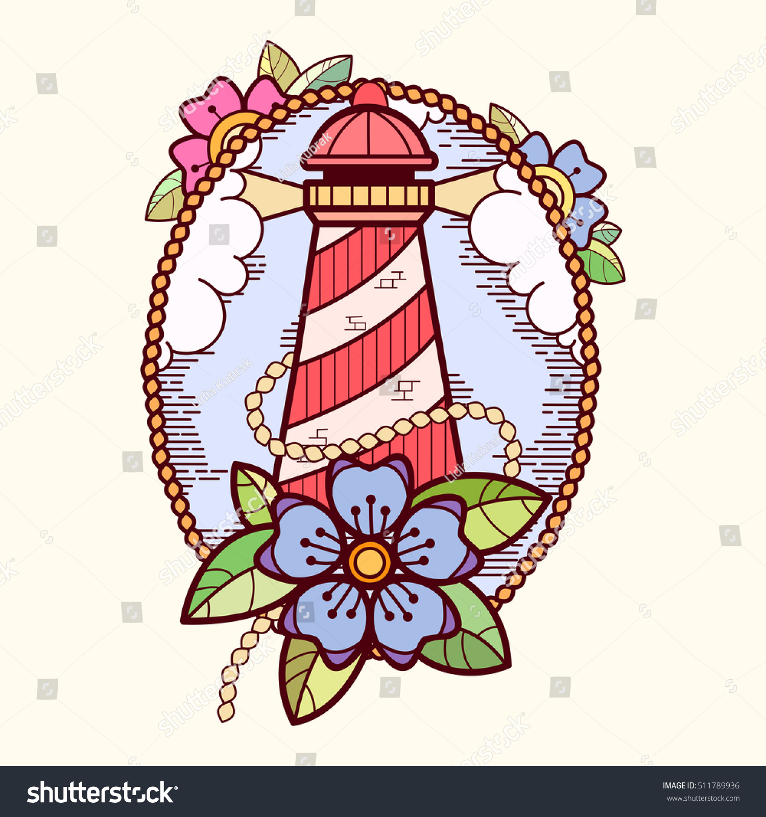 sea lifebuoy flowers clouds old stock vector 511789936