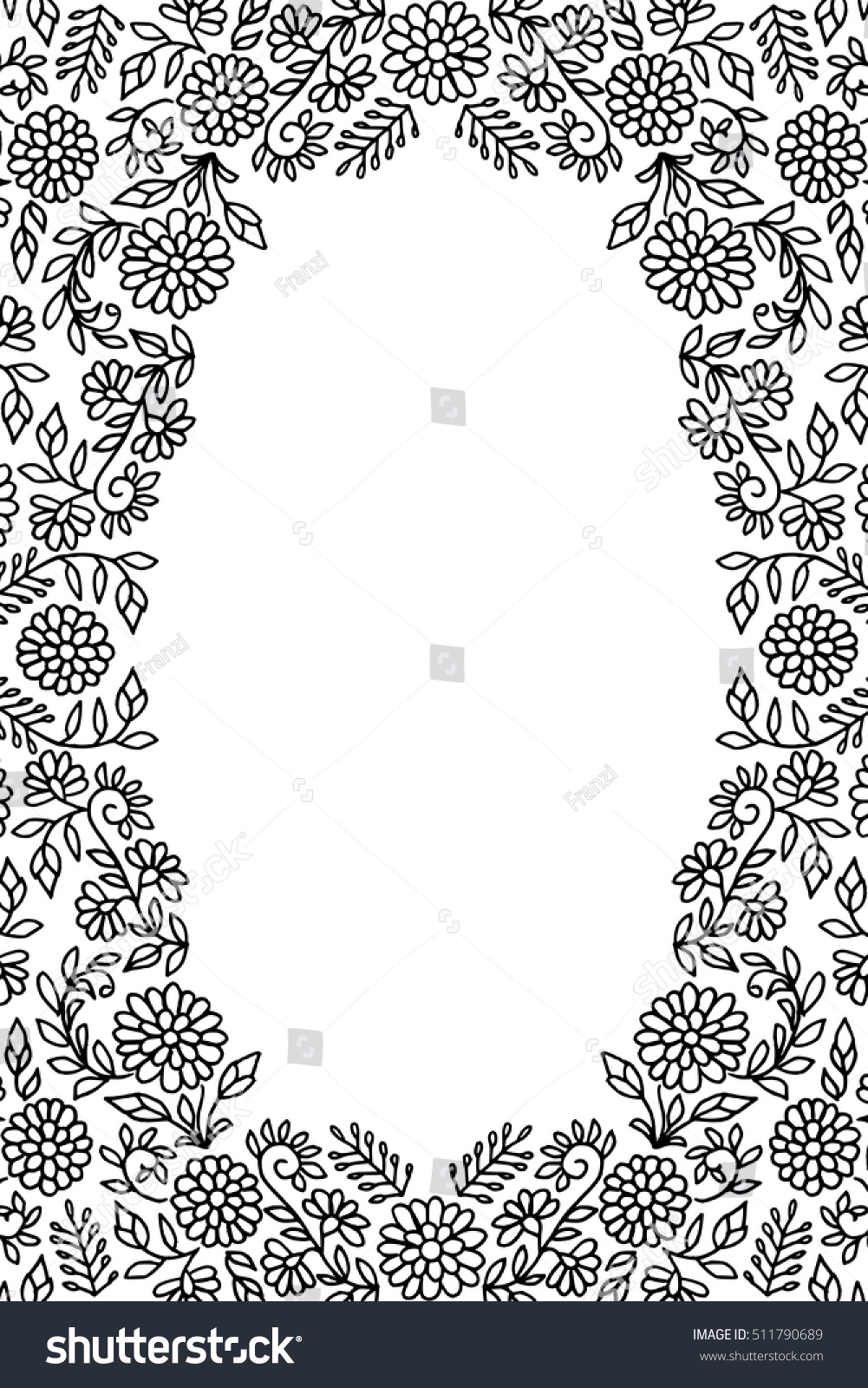 Hand Drawn Floral Greeting Card Frame Stock Vector Royalty Free