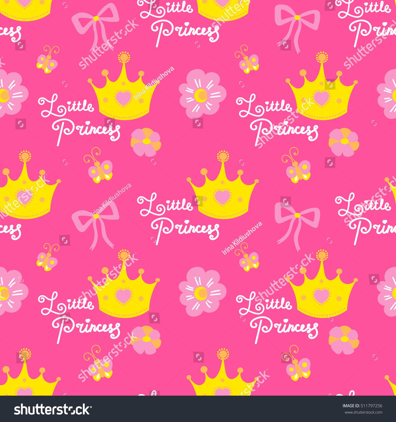 Little Princess Pattern Vector Pink Girl Stock Vector