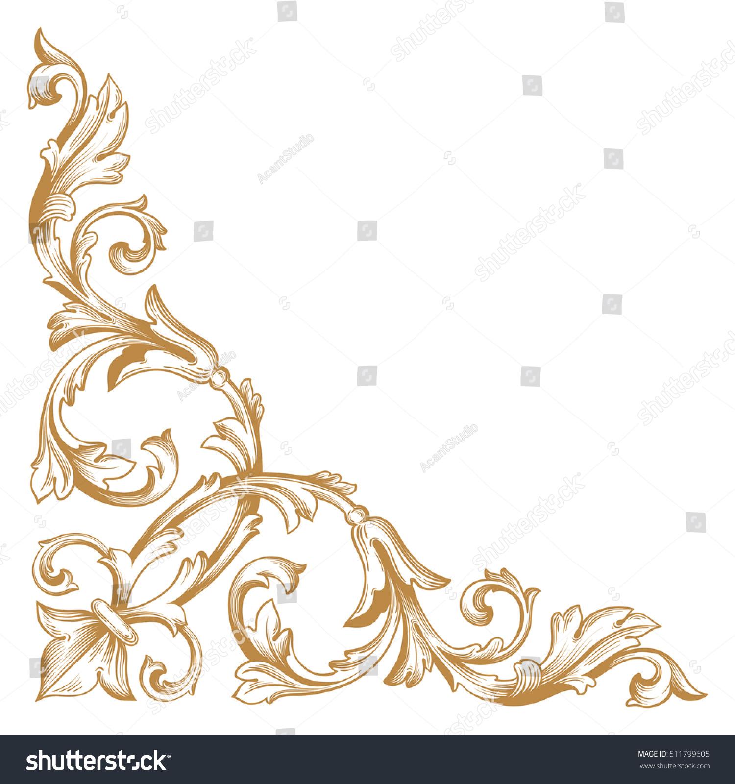 royalty free gold vintage baroque corner ornament 511799605 stock