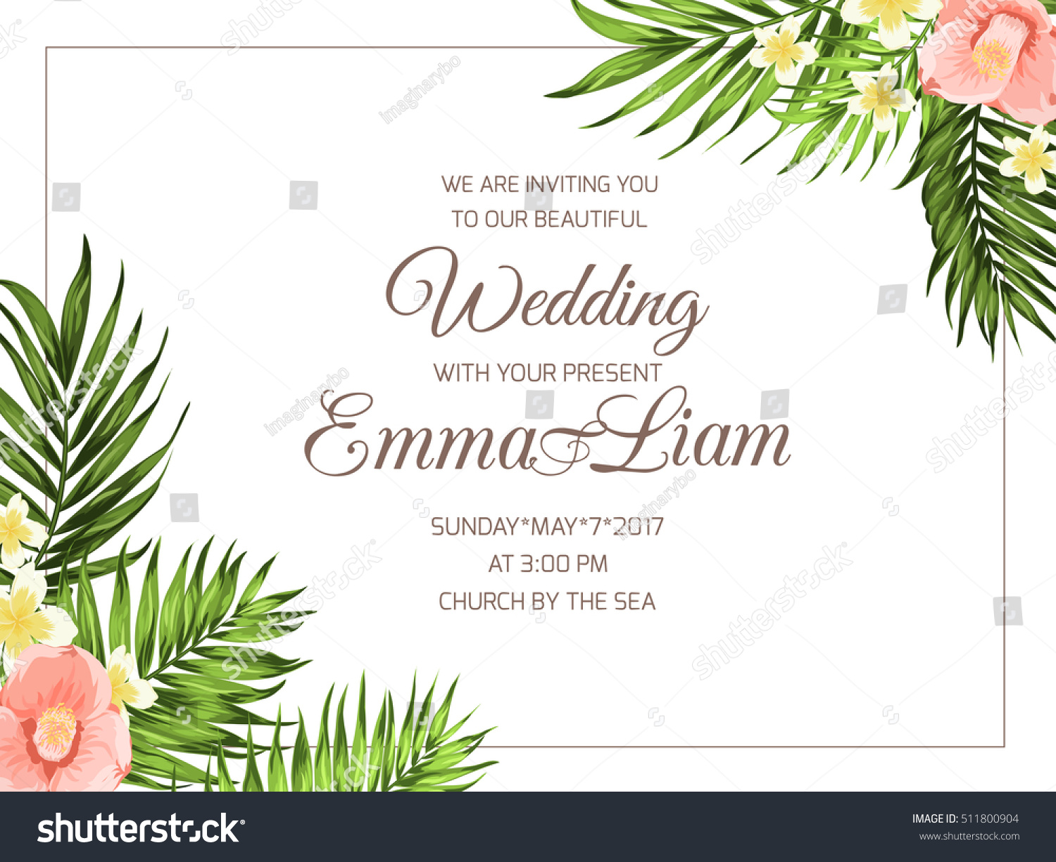 Vetor stock de tropical wedding party invitation card template tropical wedding party invitation card template exotic bright plumeria and camellia flowers with jungle palm stopboris Image collections