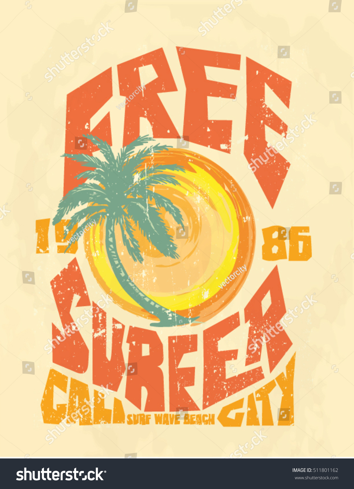 Sunset Surf And Beach Vintage Print Tee Graphic Design