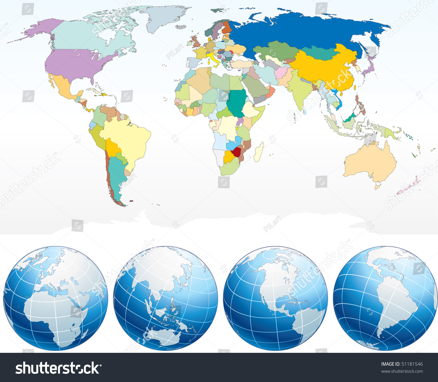 world map individual countriespolitical map detailed stock