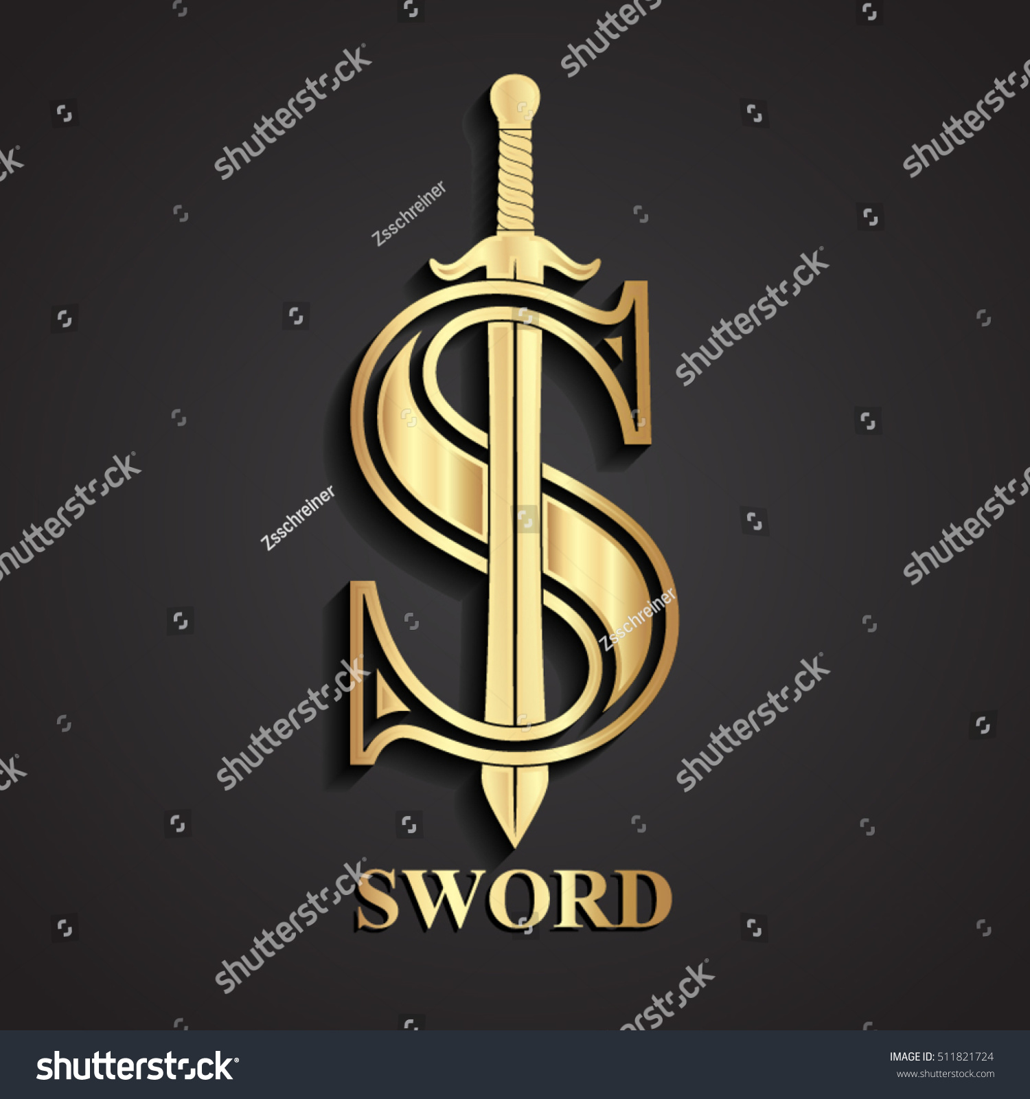 3 D Gold Sword S Logo Stock Vector Royalty Free 511821724