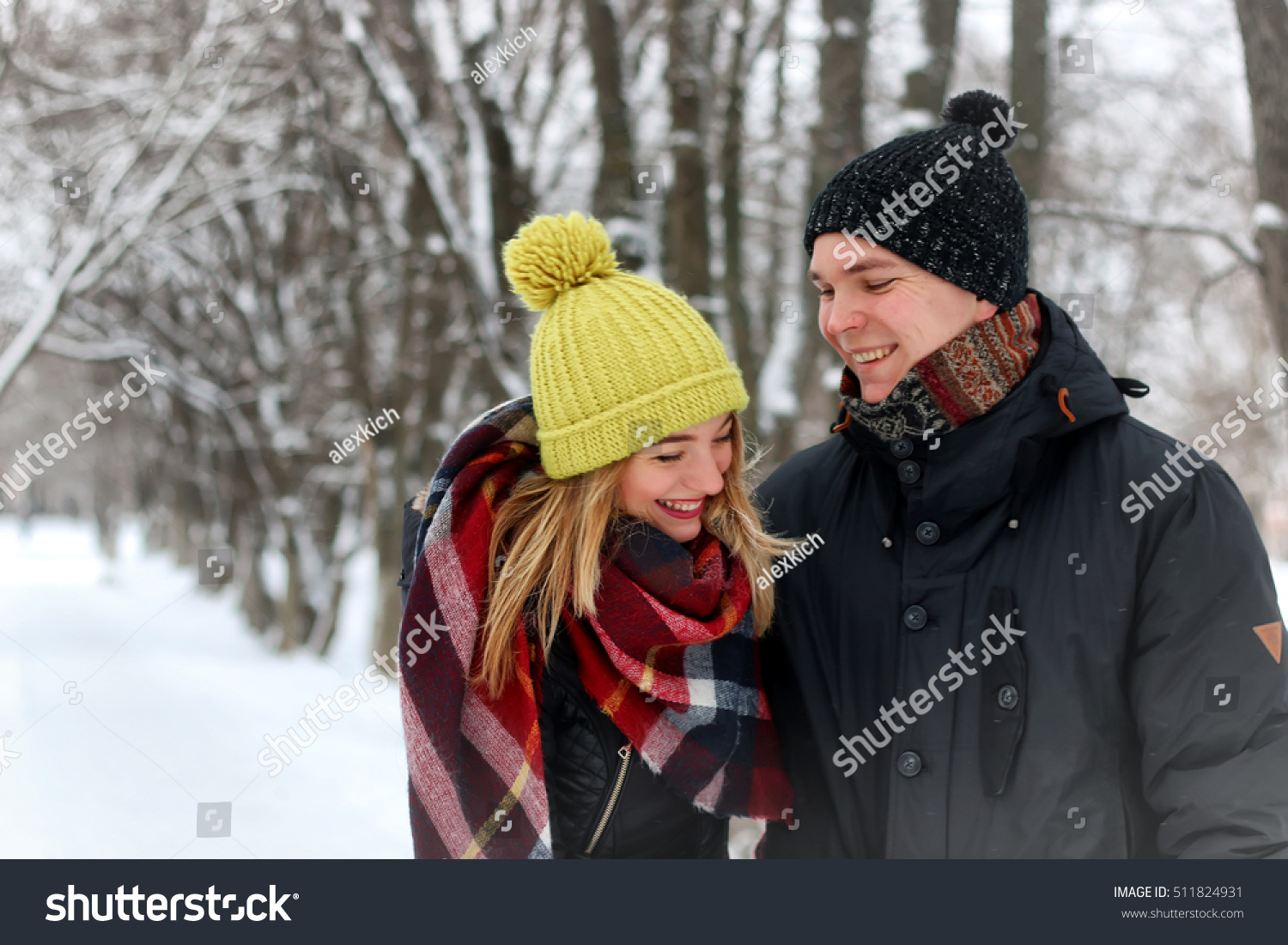 young lovers walk smile winter