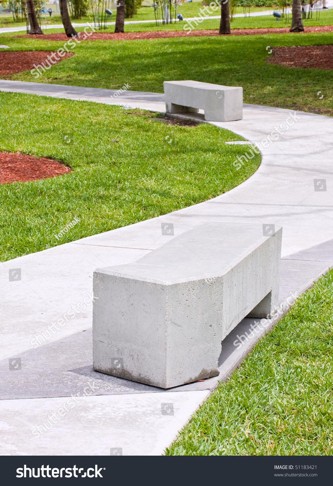 Modern Concrete Benches Path Public Park Stock Photo