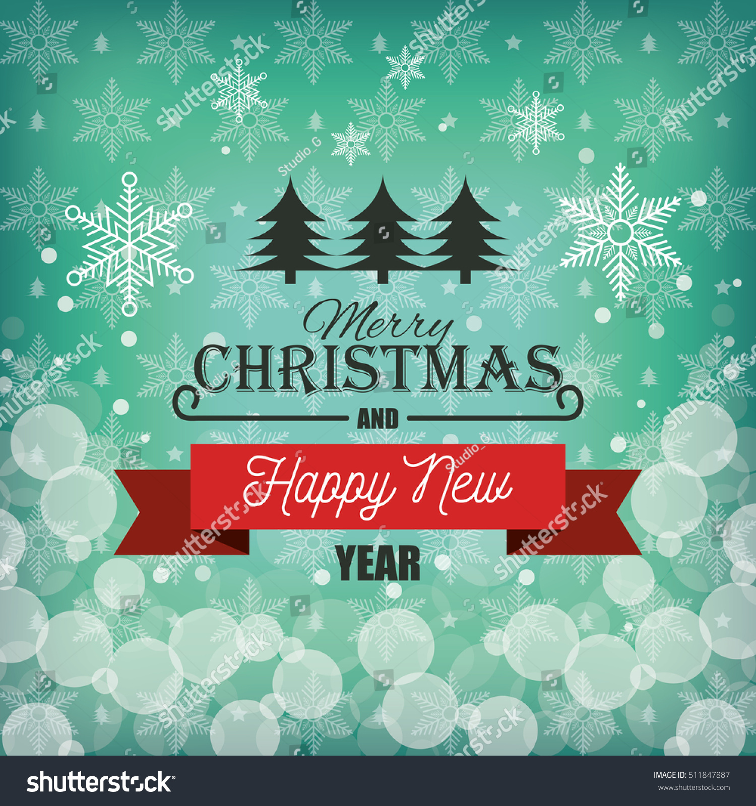 Happy Merry Christmas Card Stock Vector Royalty Free 511847887