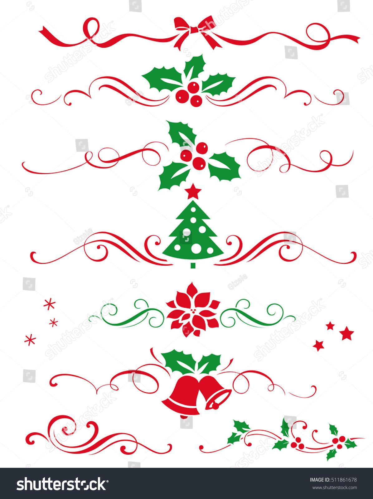 Winter set decorative calligraphic elements dividers stock