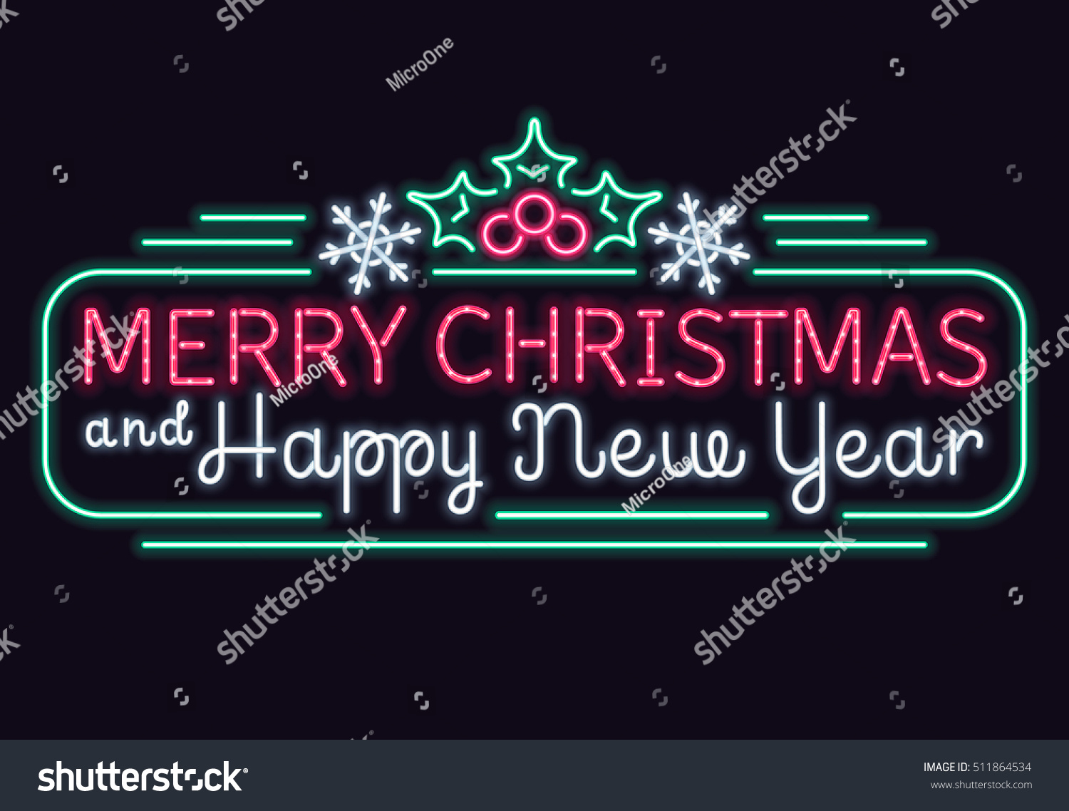 neon merry christmas happy new year stock vector royalty free