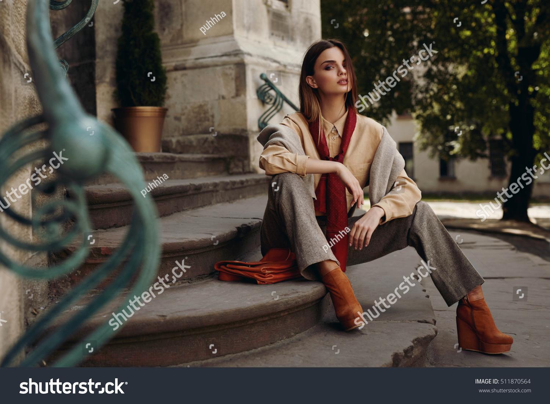 d5b95cd5a9b02 Fashion Model In Street. Beautiful Sexy Woman In Stylish Fashionable Fall  Clothes: Shirt,
