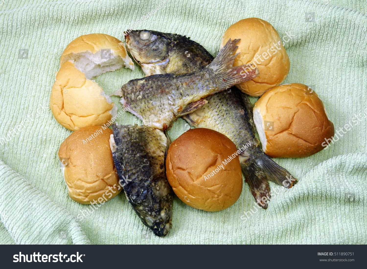 Took five loaves two fishes stock photo 511890751 for Five loaves two fish