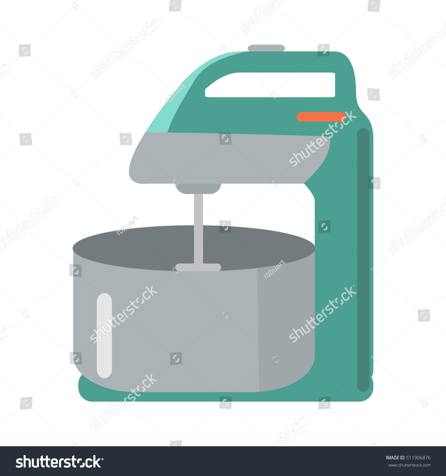 Mixer Bowl Flat Style Isolated Household Stock Vector 511906876 ...