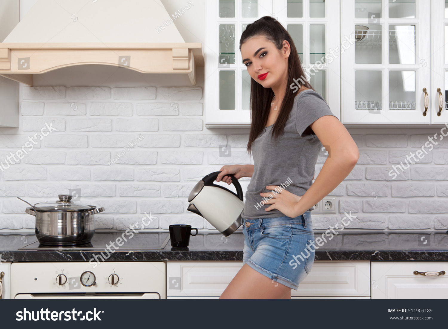 Young Beautiful Slim Girl Standing Kitchen Stock Photo (Royalty Free ...
