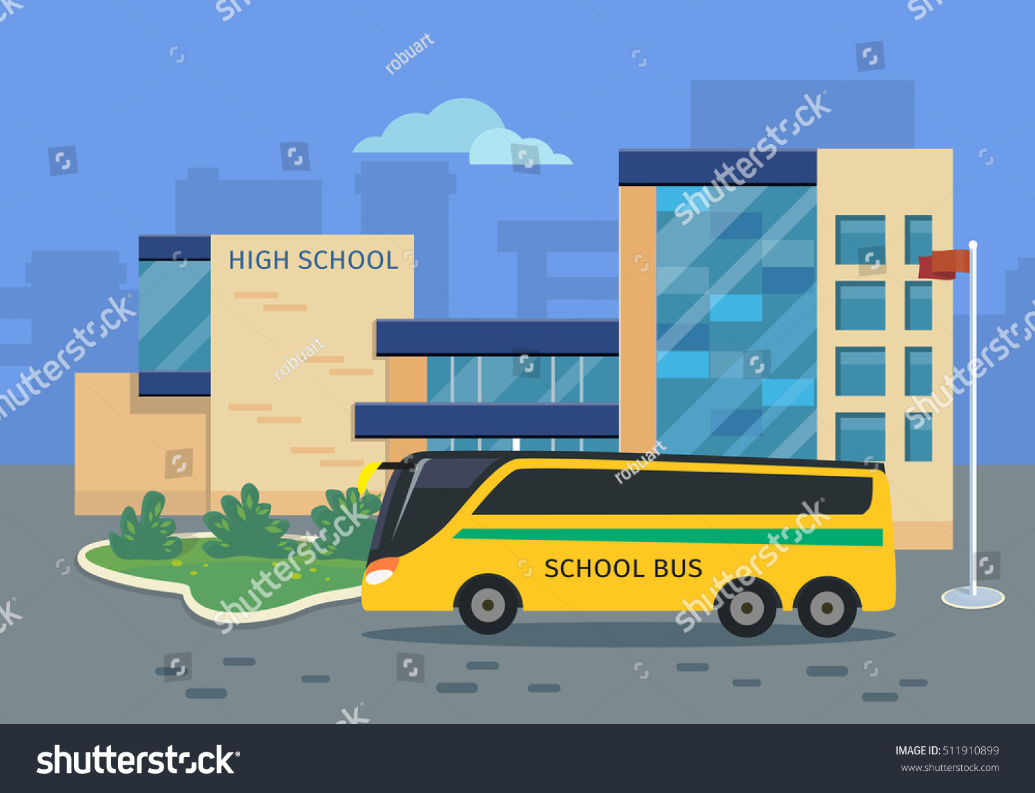 High School Building Yellow Bus Vector Stock Vector ...