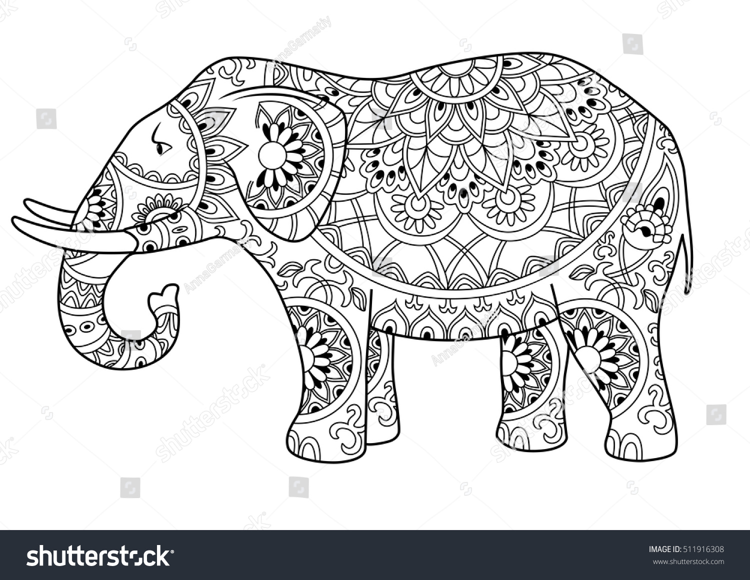 Hand Drawn Decorative Outline Elephant Indian Stock Vector 511916308 ...