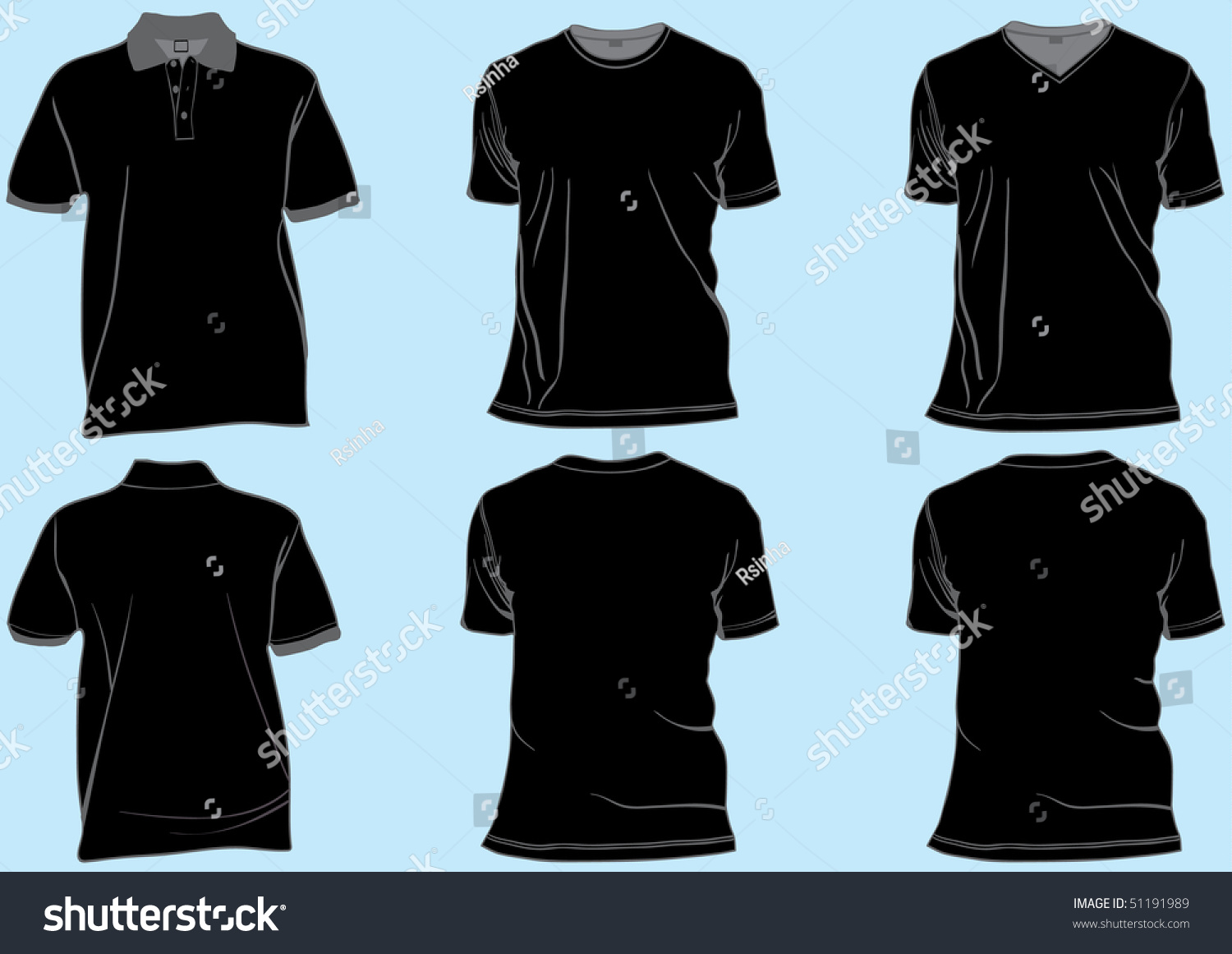Black t shirt vector template - Shirt Or Golf Tshirt Set Template With Collar V Neck And Round Neck