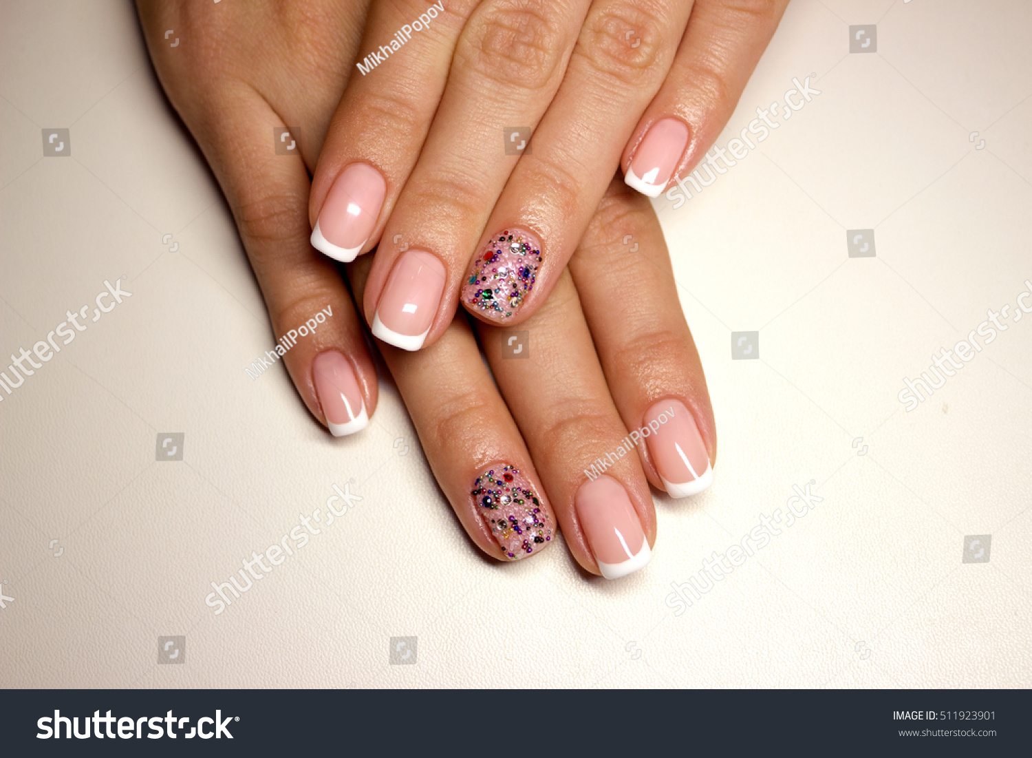 Nails Classic White Beautiful French Manicure Stock Photo (Edit Now ...