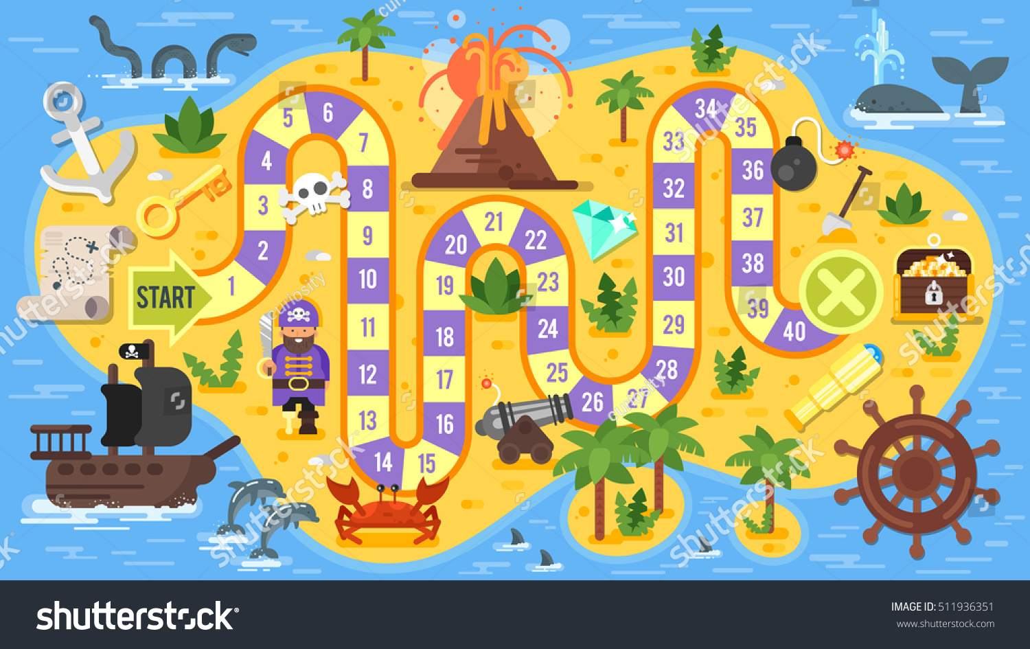 Vector Flat Style Illustration Kids Pirate Stock Vector Royalty