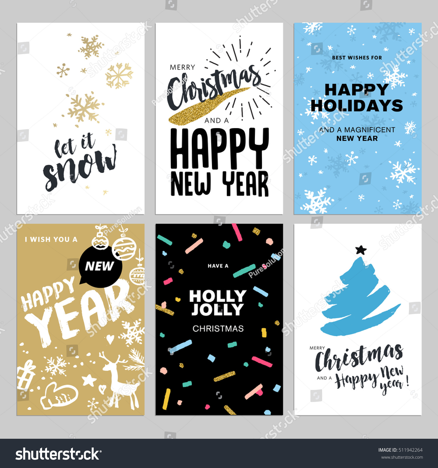 Christmas new year flat design greeting stock vector royalty free christmas and new year flat design greeting cards set hand drawn vector illustrations for greeting m4hsunfo