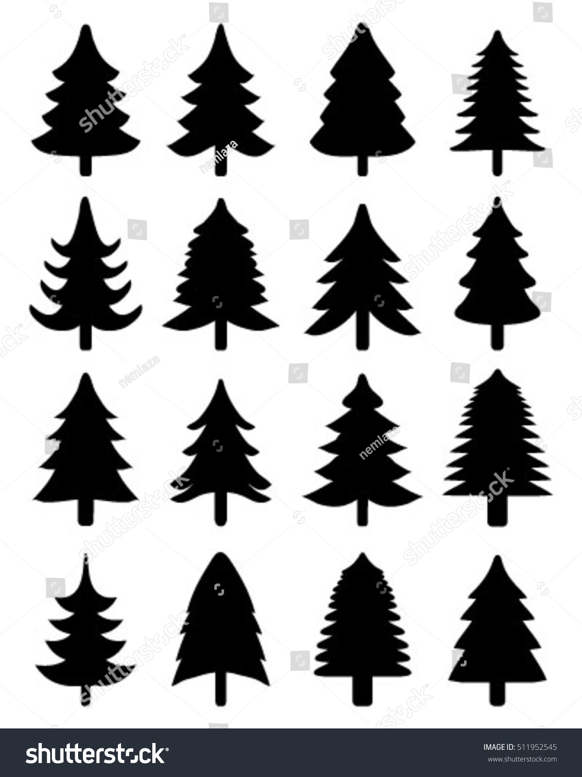 set black christmas trees vector silhouettes stock vector