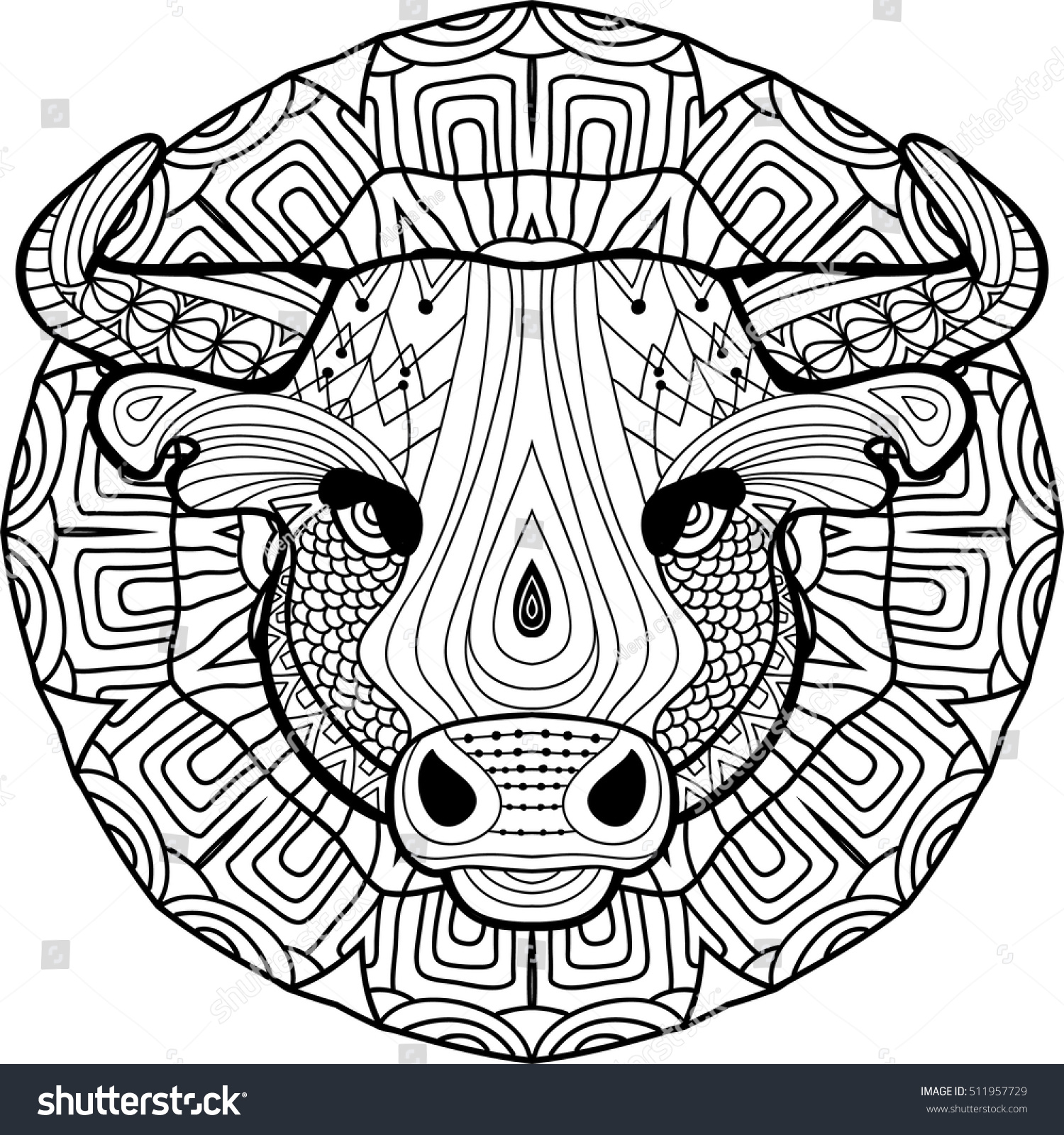 Strong Bull Is Drawn By Hand With Ink Ethnic Patterns Zendoodle Zenart