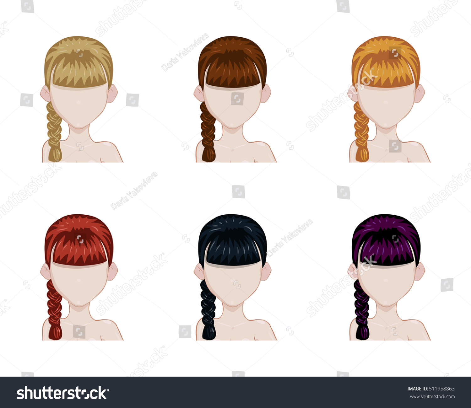 One Plait Hairstyle Set Female Hair Stock Vector Royalty Free