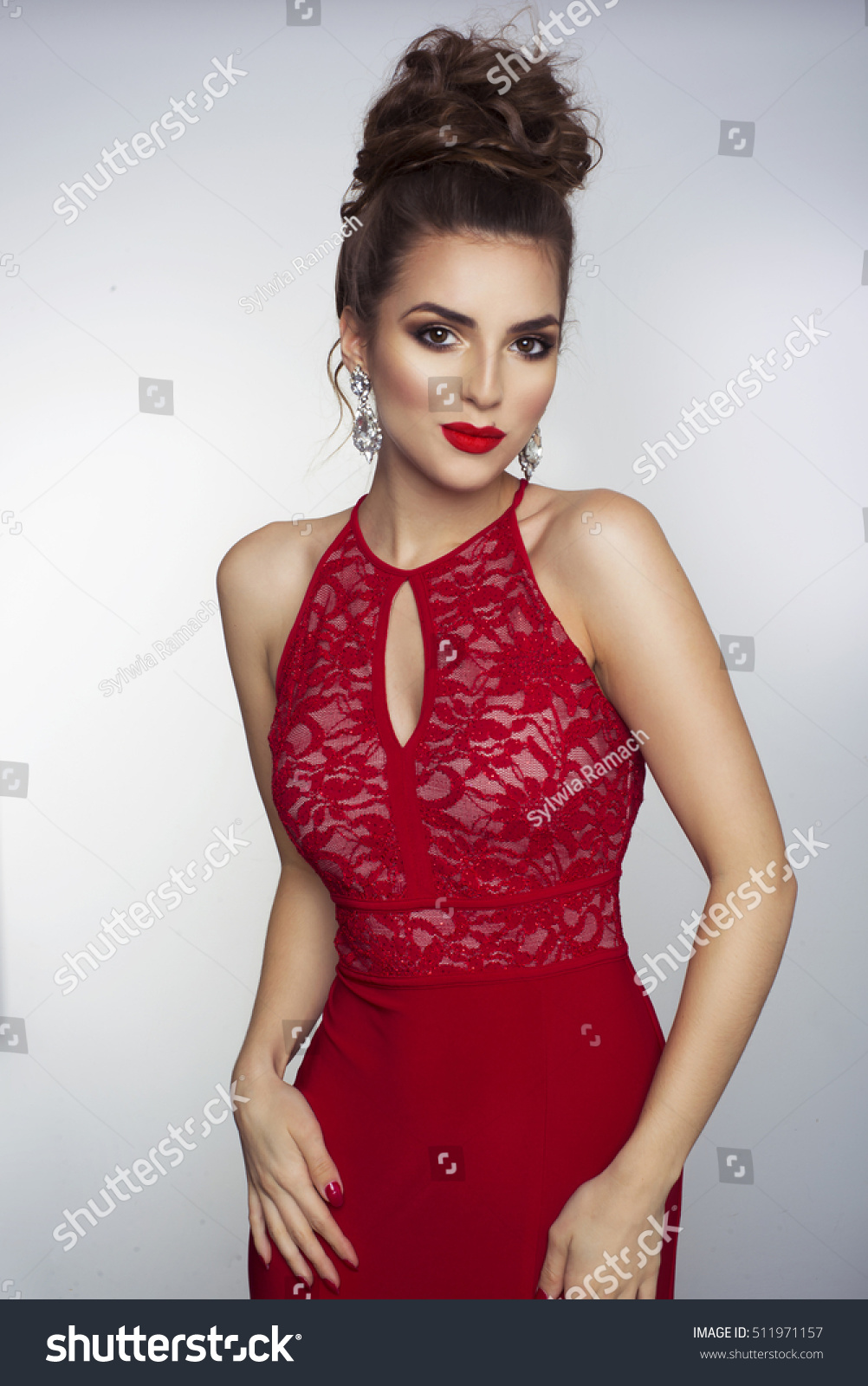 Party Photo Of Elegance Sexy Lady In Red Dress With Red Lips And Brunette Beautiful Hair