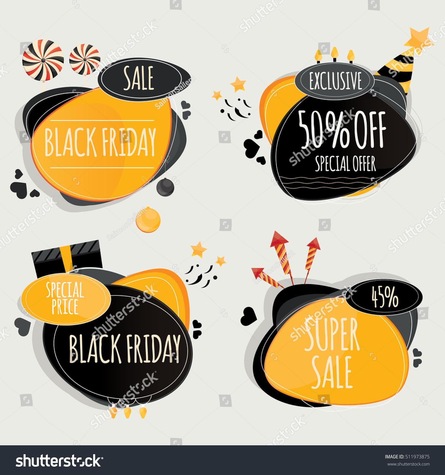 Alien Bees Black Friday Sale: Set Black Friday Design Elements Colorful Stock Vector
