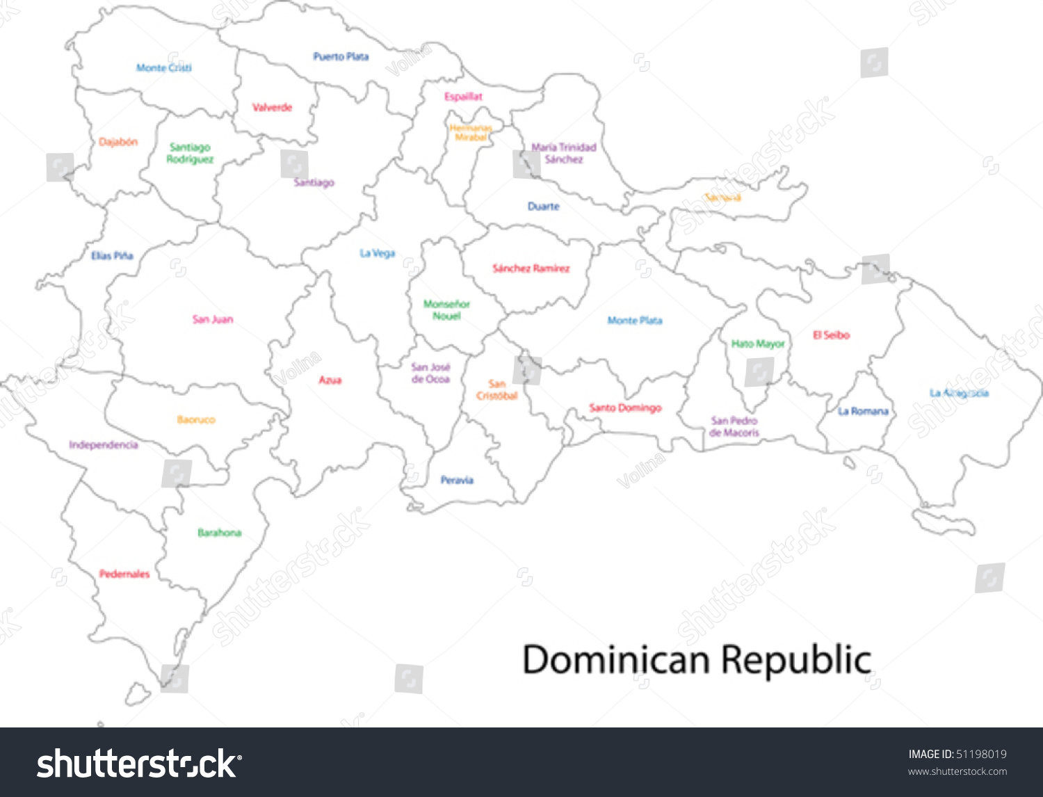Outline dominican republic map provinces stock vector for Dominican republic coloring pages
