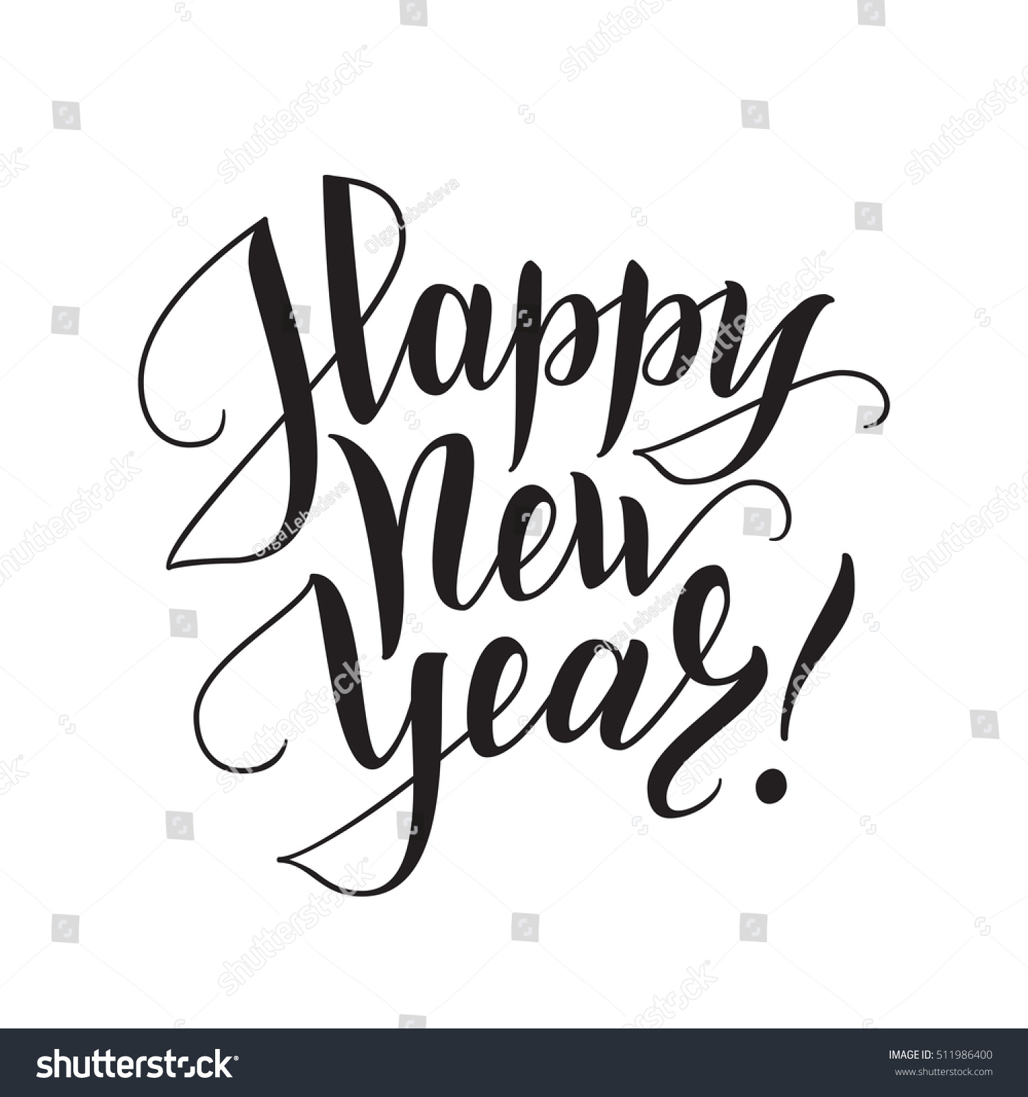 Happy new year brush lettering hand stock vector