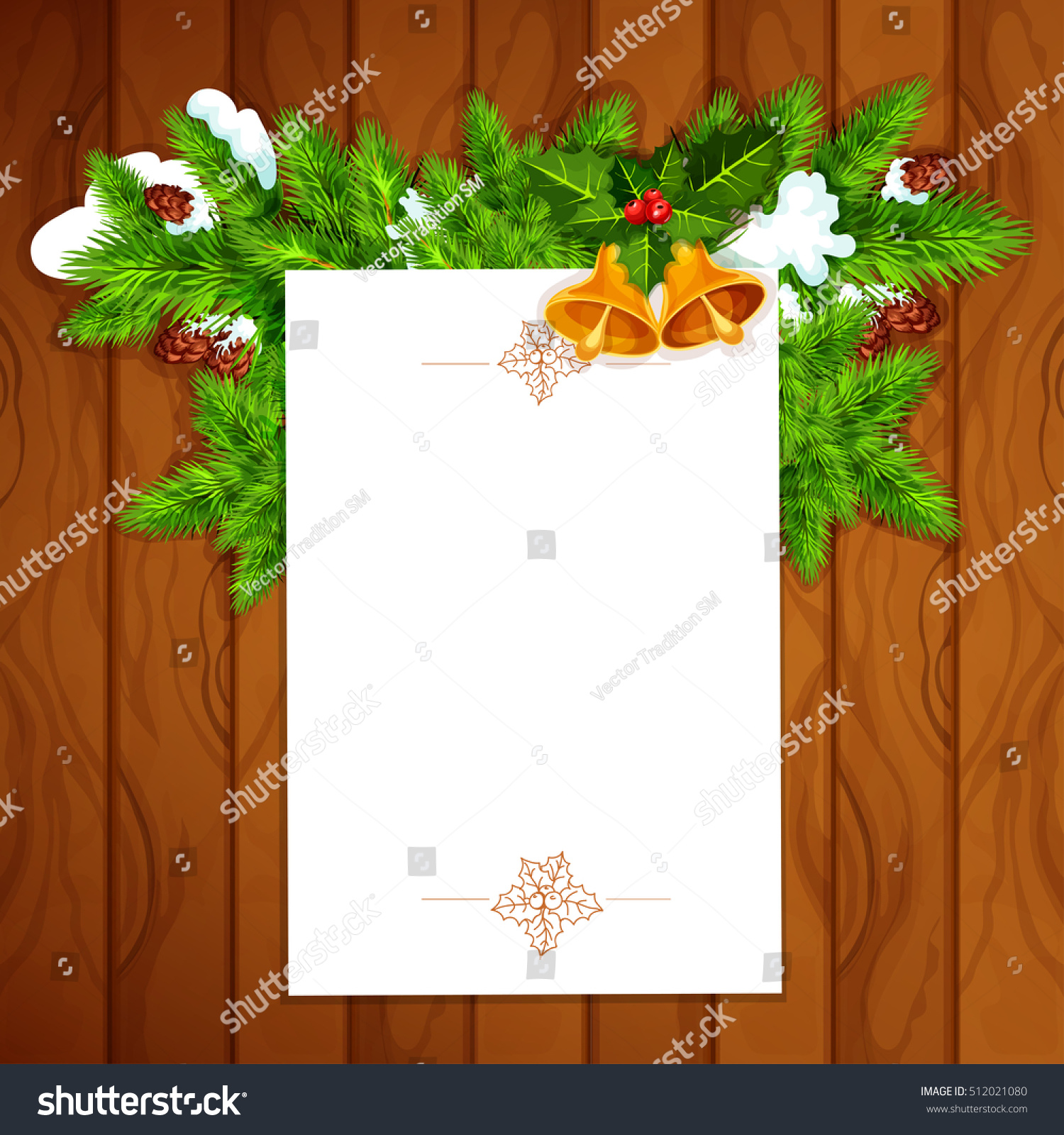 christmas and new year greeting card with blank paper decorated by holly berry with bell