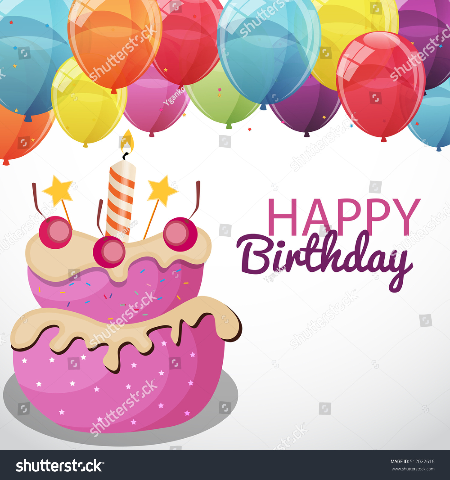Happy Birthday Card Template Balloons Flags Illustration – Happy Birthday Cards Templates