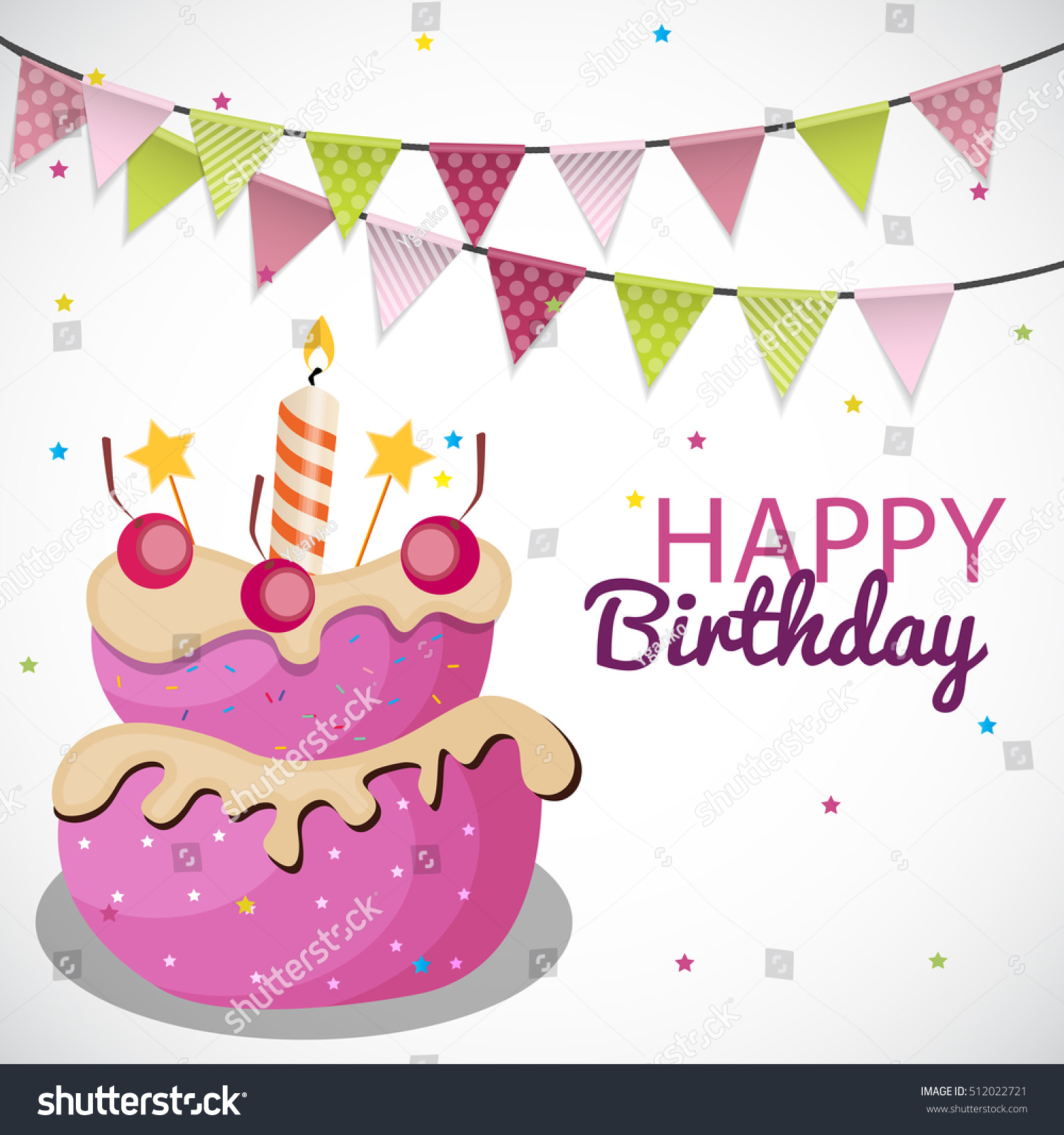 Happy birthday card template balloons ribbon stock illustration happy birthday card template with balloons ribbon and candle illustration pronofoot35fo Image collections