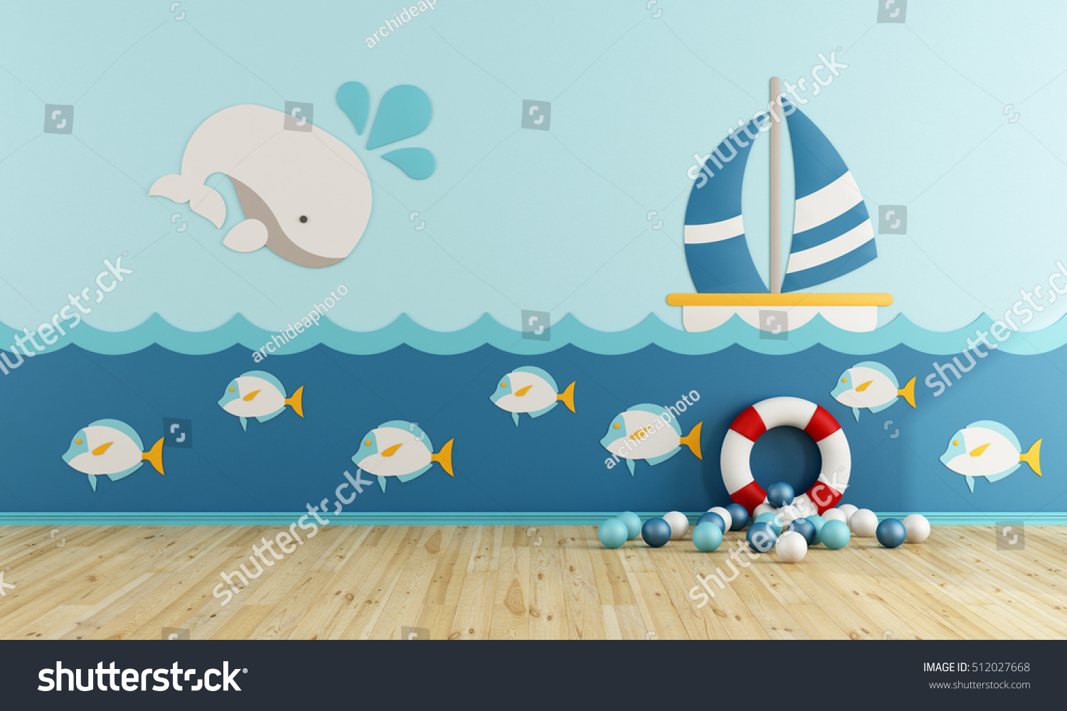 Playroom In Marine Style Without Furniture   3d Rendering