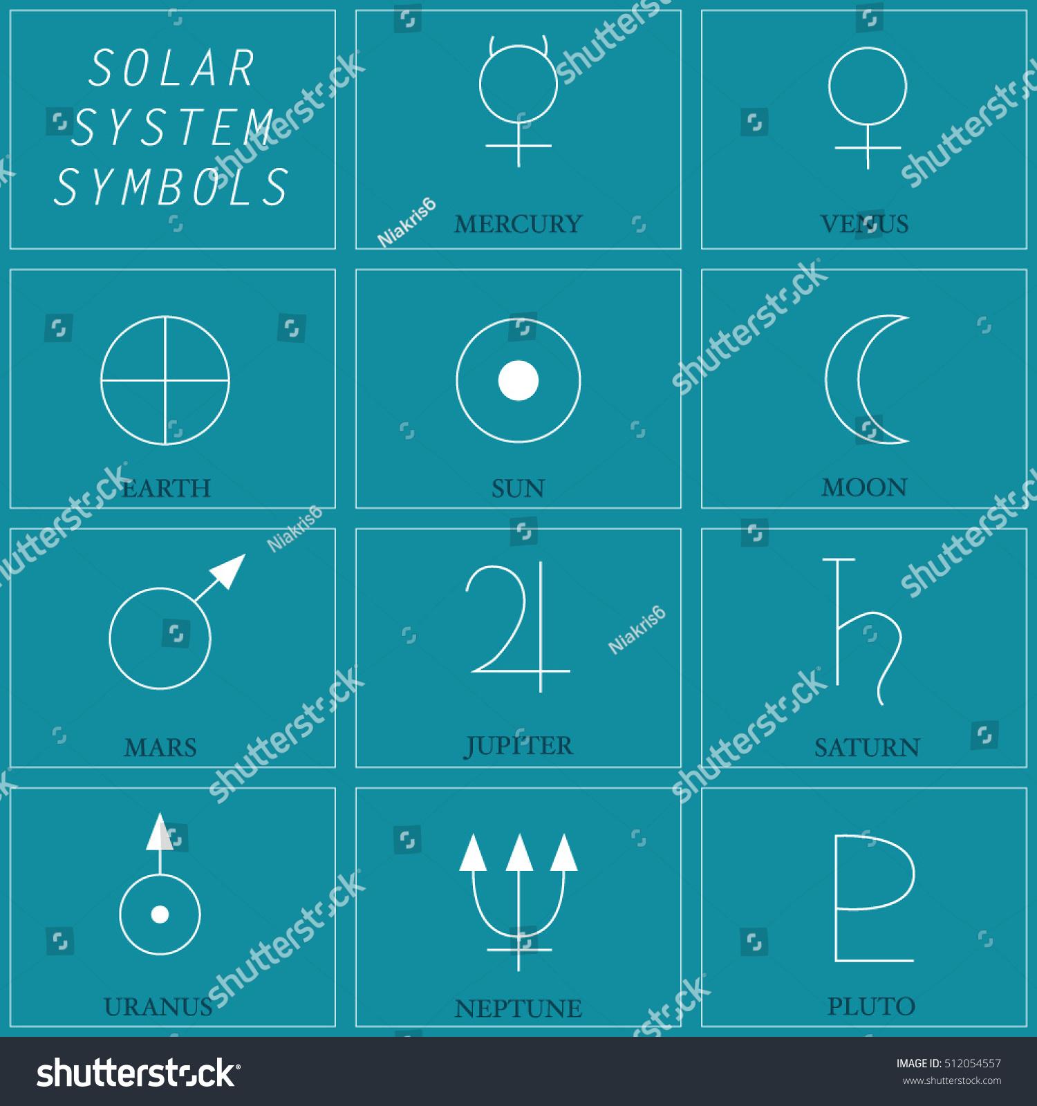 Vector illustration solar system symbols flat stock vector vector illustration of the solar system symbols flat design buycottarizona