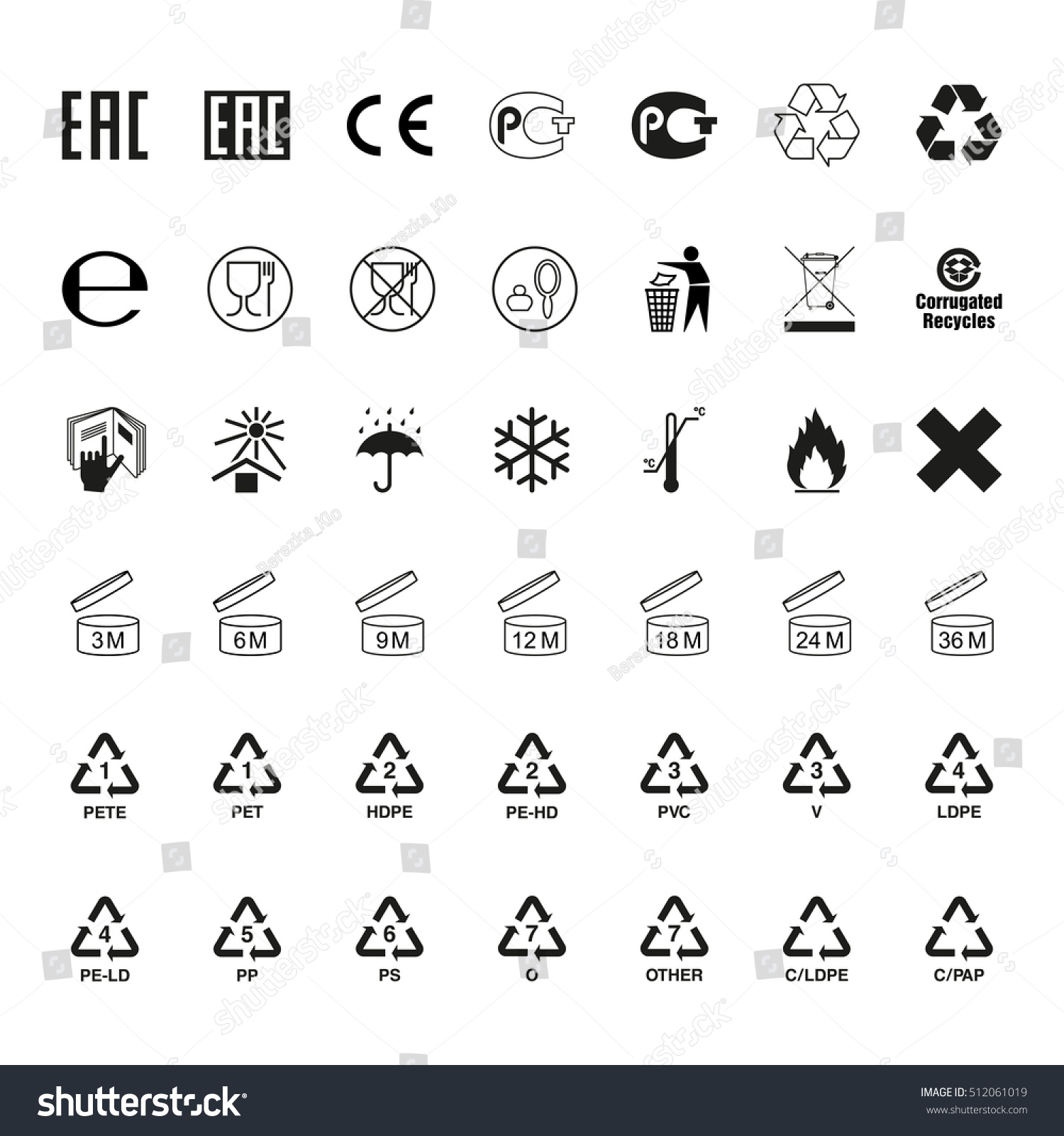 Packaging Symbols Set Icons On Packaging Stock Illustration