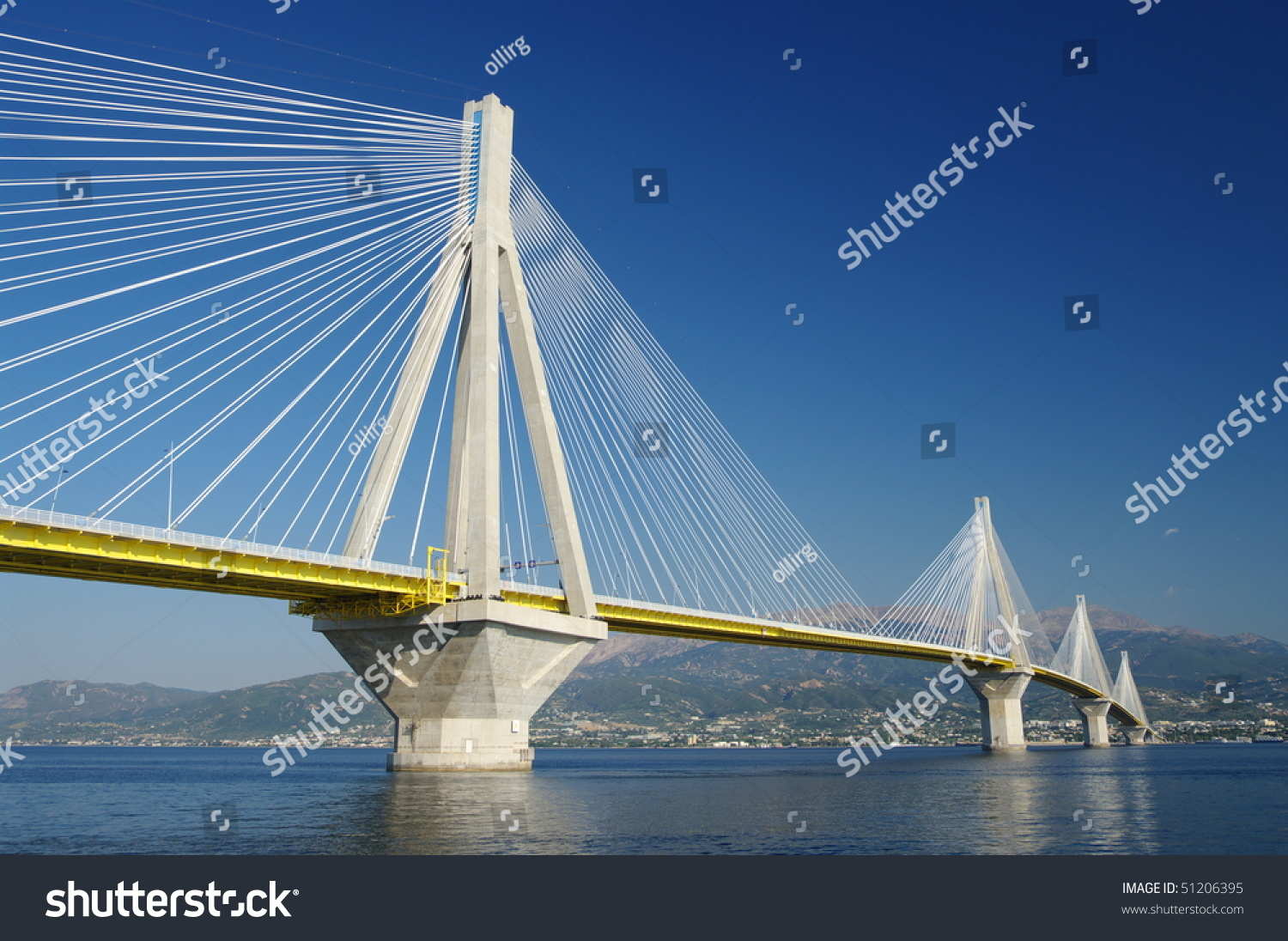 suspension bridge crossing Corinth Gulf strait, Greece. Is the world's second longest cable-stayed bridge #51206395