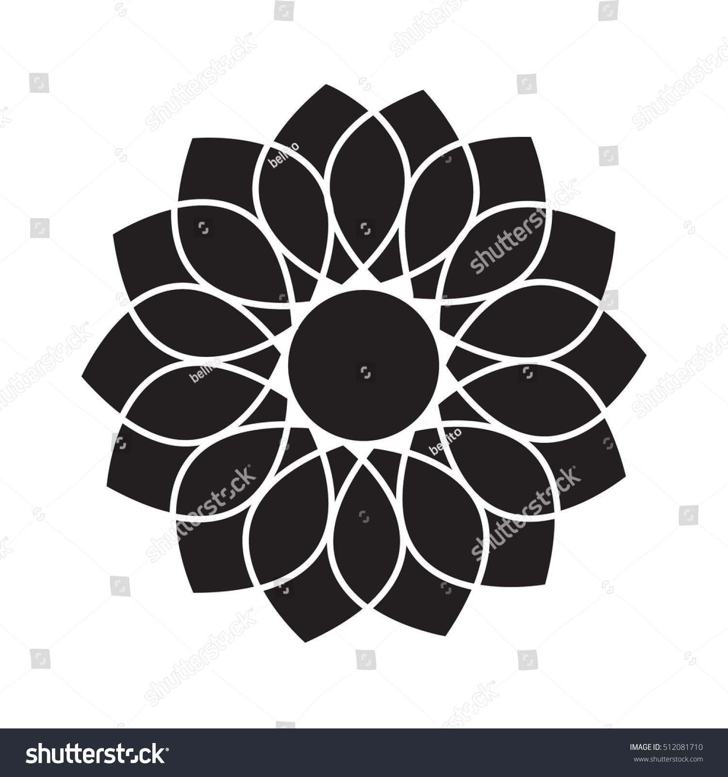 Pattern Black Lotus Flower Vector Top Stock Vector Royalty Free