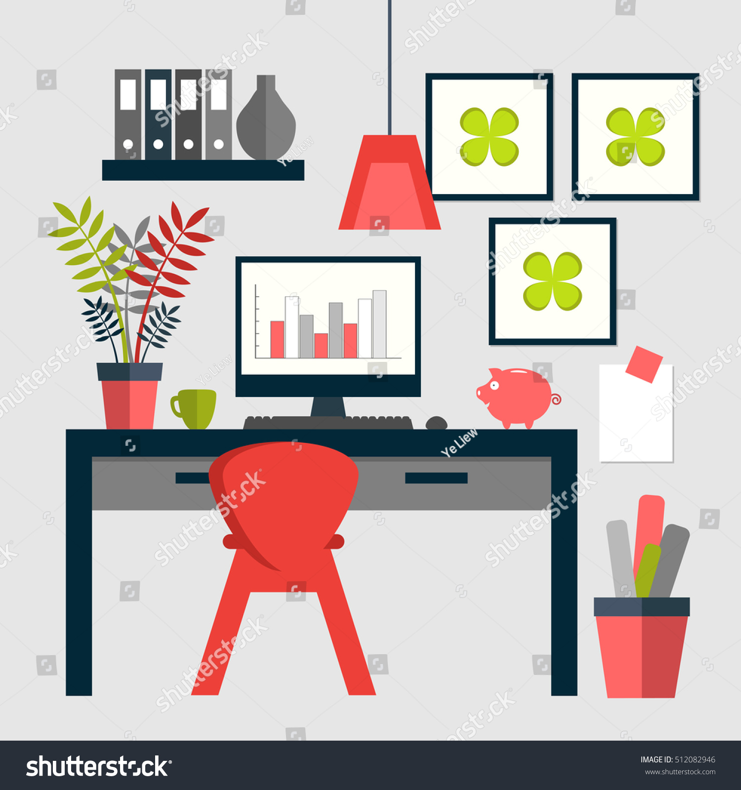 Flat design trendy home office layout stock vector 512082946 flat design of trendy home office layout pooptronica