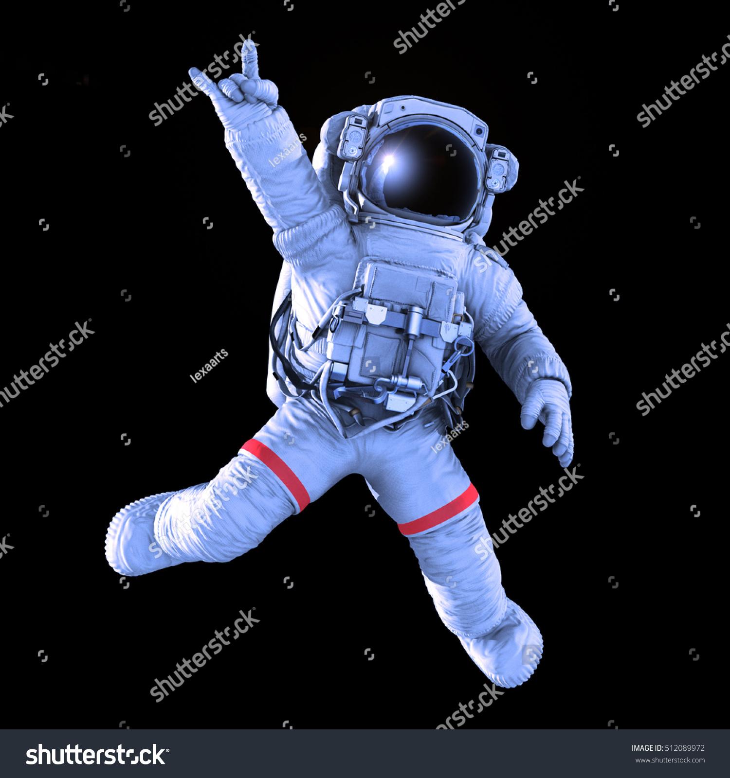 Rocking Astronaut On Black Background 3d Stock ...