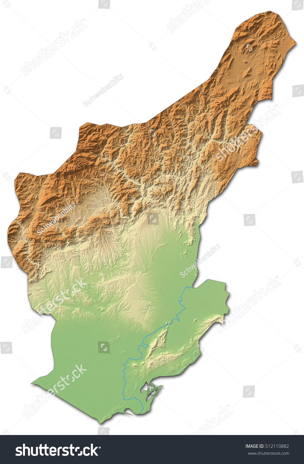 Relief Map Adana Turkey 3drendering Stock Illustration 512110882