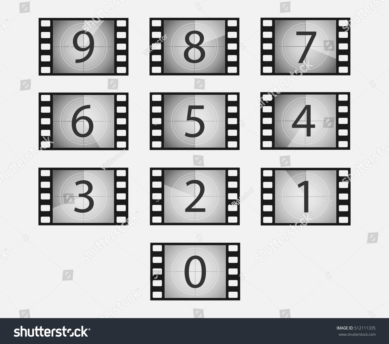 Old Film Movie Countdown Vector Set Stock Vector 512111335 ...