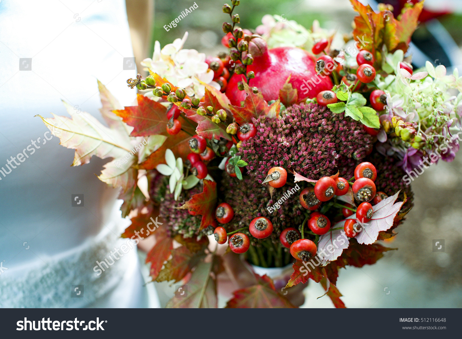 Autumnal Bridal Bouquet Bride Holding Wedding Stock Photo ...