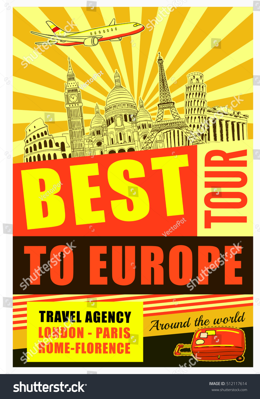 Europe Travel Poster Advertising Best Tour Stock Vector - Best europe tours
