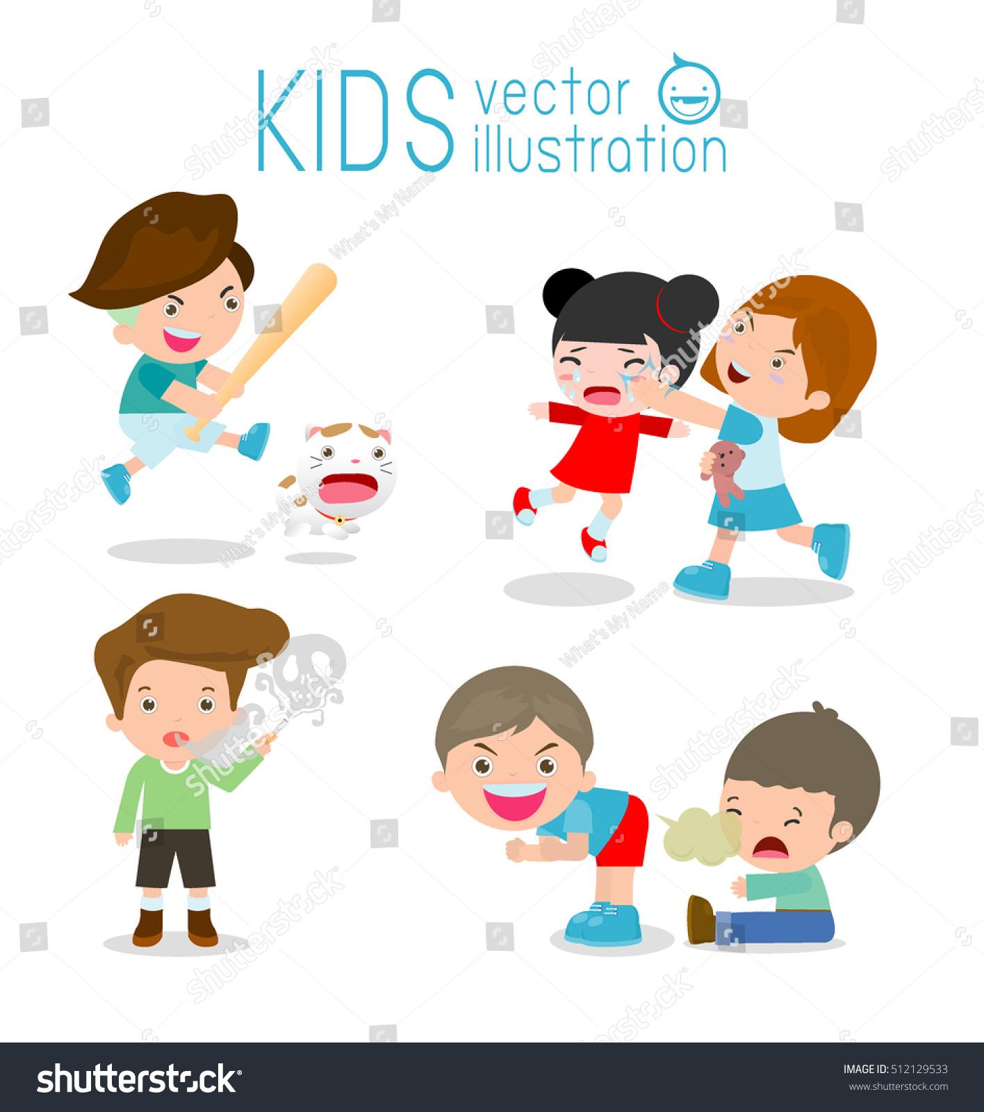 Bad Kids Behavior Bad Boy Bad Stock Vector (Royalty Free) 512129533