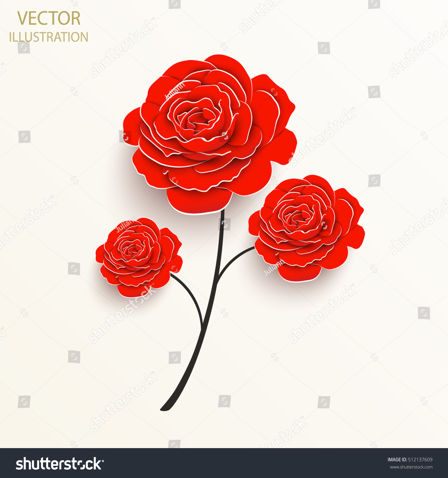Paper Flower Rose Cut Out Paper Stock Vector Royalty Free