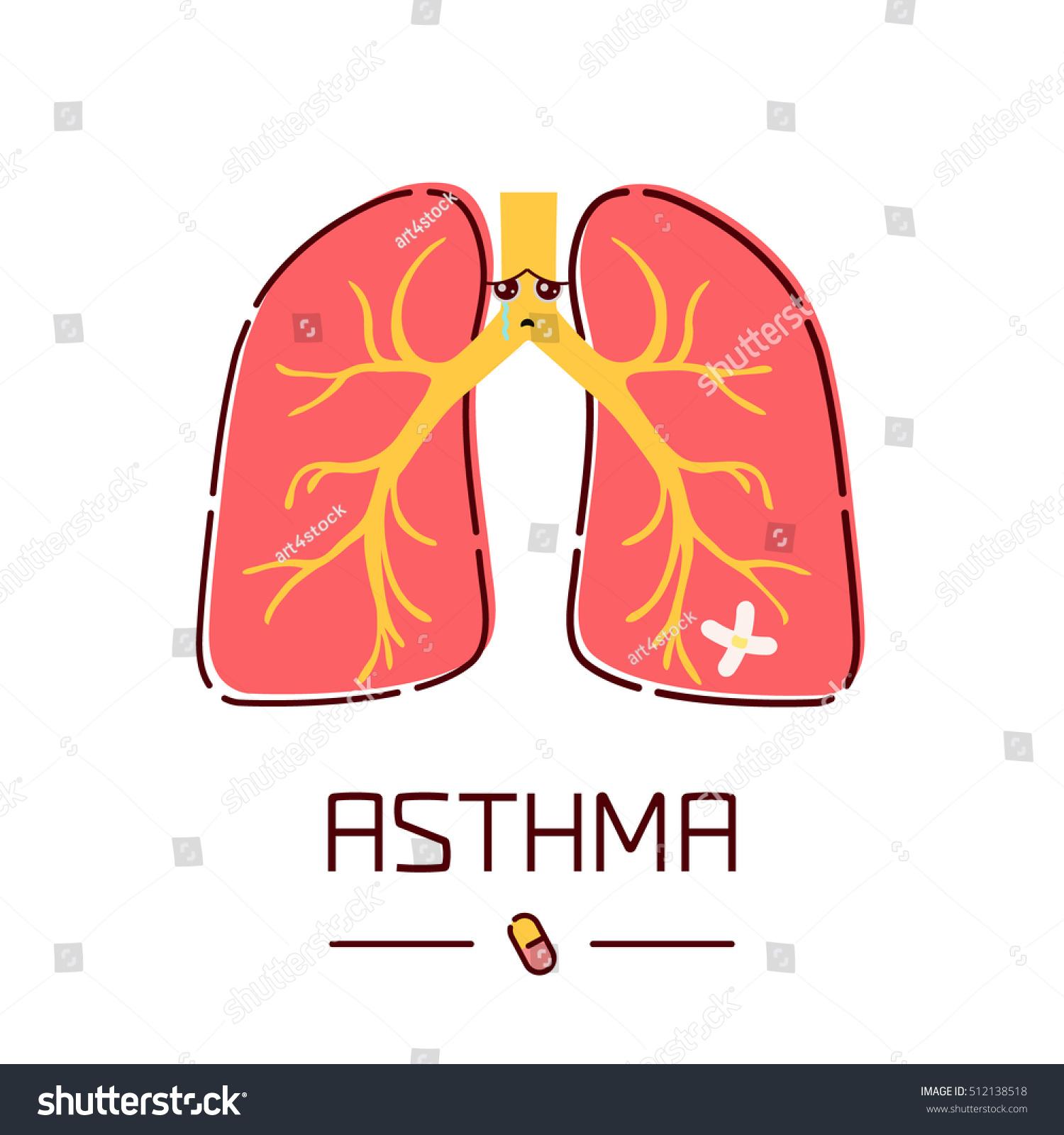 Asthma Awareness Poster Sad Cartoon Lungs Stock Vector (Royalty Free ...
